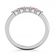 Oval Diamond & Morganite Five Stone Ring 14k White Gold (1.00ct)