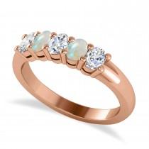 Oval Diamond & Opal Five Stone Ring 14k Rose Gold (1.00ct)