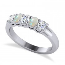 Oval Diamond & Opal Five Stone Ring 14k White Gold (1.00ct)