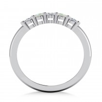 Oval Diamond & Opal Five Stone Ring 14k White Gold (1.00ct)