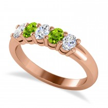 Oval Diamond & Peridot Five Stone Ring 14k Rose Gold (1.00ct)