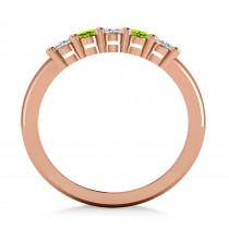 Oval Diamond & Peridot Five Stone Ring 14k Rose Gold (1.00ct)