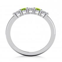 Oval Diamond & Peridot Five Stone Ring 14k White Gold (1.00ct)