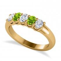 Oval Diamond & Peridot Five Stone Ring 14k Yellow Gold (1.00ct)