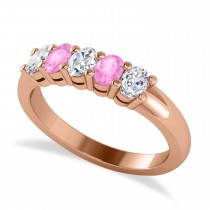 Oval Diamond & Pink Sapphire Five Stone Ring 14k Rose Gold (1.00ct)