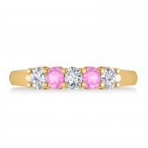 Oval Diamond & Pink Sapphire Five Stone Ring 14k Yellow Gold (1.00ct)