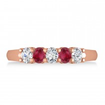 Oval Diamond & Ruby Five Stone Ring 14k Rose Gold (1.00ct)