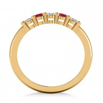 Oval Diamond & Ruby Five Stone Ring 14k Yellow Gold (1.00ct)