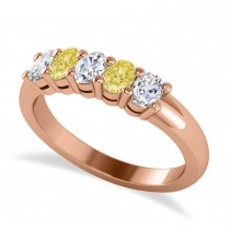 Oval Yellow & White Diamond Five Stone Ring 14k Rose Gold (1.00ct)