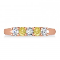 Oval Yellow & White Diamond Five Stone Ring 14k Rose Gold (1.00ct)