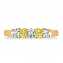 Oval Yellow & White Diamond Five Stone Ring 14k Yellow Gold (1.00ct)