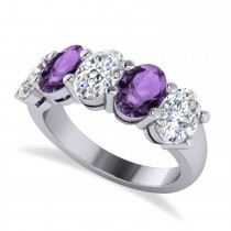 Oval Diamond & Amethyst Five Stone Ring 14k White Gold (4.70ct)