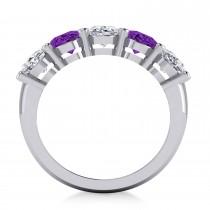 Oval Diamond & Amethyst Five Stone Ring 14k White Gold (4.70ct)