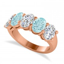 Oval Diamond & Aquamarine Five Stone Ring 14k Rose Gold (4.50ct)