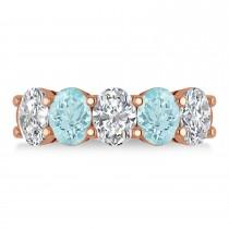 Oval Diamond & Aquamarine Five Stone Ring 14k Rose Gold (4.50ct)