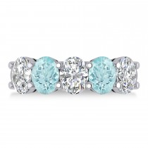 Oval Diamond & Aquamarine Five Stone Ring 14k White Gold (4.50ct)
