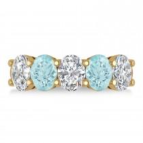 Oval Diamond & Aquamarine Five Stone Ring 14k Yellow Gold (4.50ct)