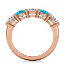 Oval Blue & White Diamond Five Stone Ring 14k Rose Gold (5.00ct)|escape