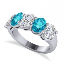 Oval Blue & White Diamond Five Stone Ring 14k White Gold (5.00ct)