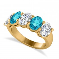 Oval Blue & White Diamond Five Stone Ring 14k Yellow Gold (5.00ct)