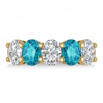 Oval Blue & White Diamond Five Stone Ring 14k Yellow Gold (5.00ct)