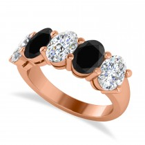 Oval Black & White Diamond Five Stone Ring 14k Rose Gold (5.00ct)