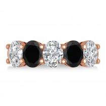 Oval Black & White Diamond Five Stone Ring 14k Rose Gold (5.00ct)