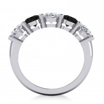 Oval Black & White Diamond Five Stone Ring 14k White Gold (5.00ct)