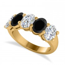 Oval Black & White Diamond Five Stone Ring 14k Yellow Gold (5.00ct)