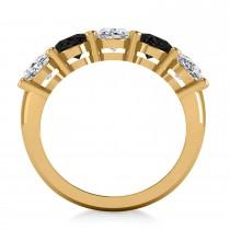 Oval Black & White Diamond Five Stone Ring 14k Yellow Gold (5.00ct)