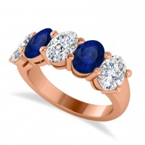Oval Diamond & Blue Sapphire Five Stone Ring 14k Rose Gold (5.00ct)