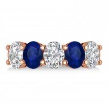 Oval Diamond & Blue Sapphire Five Stone Ring 14k Rose Gold (5.00ct)