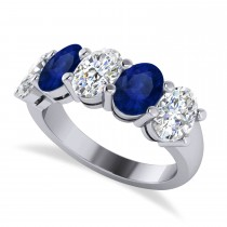 Oval Diamond & Blue Sapphire Five Stone Ring 14k White Gold (5.00ct)