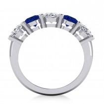 Oval Diamond & Blue Sapphire Five Stone Ring 14k White Gold (5.00ct)