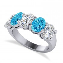 Oval Diamond & Blue Topaz Five Stone Ring 14k White Gold (5.20ct)