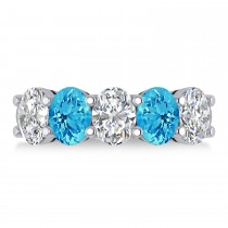 Oval Diamond & Blue Topaz Five Stone Ring 14k White Gold (5.20ct)