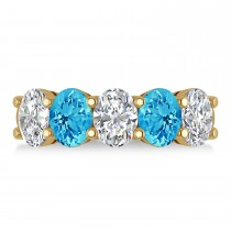 Oval Diamond & Blue Topaz Five Stone Ring 14k Yellow Gold (5.20ct)