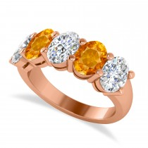 Oval Diamond & Citrine Five Stone Ring 14k Rose Gold (4.70ct)