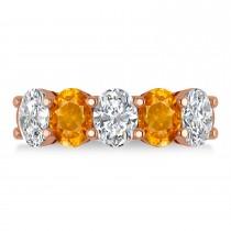 Oval Diamond & Citrine Five Stone Ring 14k Rose Gold (4.70ct)