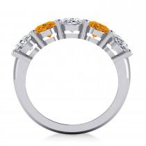 Oval Diamond & Citrine Five Stone Ring 14k White Gold (4.70ct)