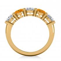 Oval Diamond & Citrine Five Stone Ring 14k Yellow Gold (4.70ct)