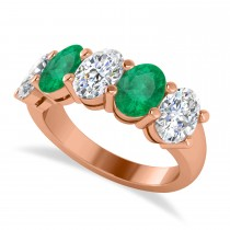 Oval Diamond & Emerald Five Stone Ring 14k Rose Gold (4.70ct)