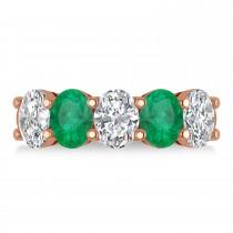 Oval Diamond & Emerald Five Stone Ring 14k Rose Gold (4.70ct)
