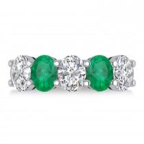 Oval Diamond & Emerald Five Stone Ring 14k White Gold (4.70ct)