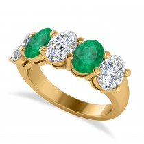Oval Diamond & Emerald Five Stone Ring 14k Yellow Gold (4.70ct)