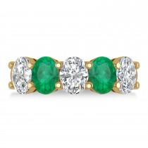 Oval Diamond & Emerald Five Stone Ring 14k Yellow Gold (4.70ct)