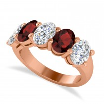 Oval Diamond & Garnet Five Stone Ring 14k Rose Gold (5.00ct)