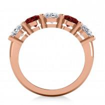 Oval Diamond & Garnet Five Stone Ring 14k Rose Gold (5.00ct)