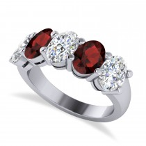 Oval Diamond & Garnet Five Stone Ring 14k White Gold (5.00ct)
