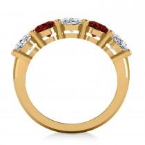 Oval Diamond & Garnet Five Stone Ring 14k Yellow Gold (5.00ct)